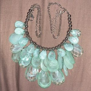 silver tone and acrylic waterfall necklace